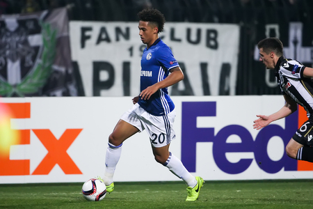 Thessaloniki, Greece, February  16, 2017: Schalke Thilo Kehrer in action during the UEFA Europa League match between PAOK vs Schalke played at Toumba Stadium