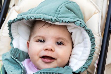 beautiful happy baby girl the winter
