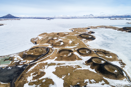 Aerial view of pseudocraters near the frozen lake Myvatn - northern Iceland