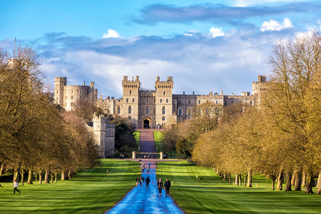 Windsor castle, England - March 22, 2017: Outside landscape of Medieval Windsor Castle. Windsor Castle is a royal residence at Windsor in the English county of Berkshire.