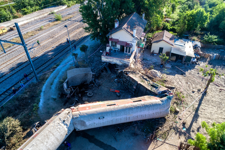 Thessaloniki, Greece - May 14, 2017: Train accident at Adendro, almost 40km west of Thessaloniki, with two confirmed dead among the passengers. The train crashed into a house after derailing. Editorial