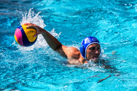 Thessaloniki, Greece May 4, 2017 : The players of the two teams in action during the Greek League water polo game PAOK vs Glifada