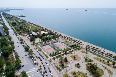 Thessaloniki , Greece - May 1, 2017: Aerial view of the new park and the waterfront of the city of Thessaloniki Editorial