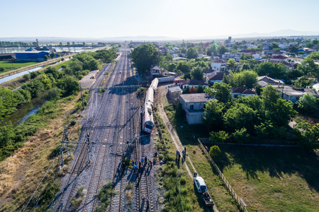 confirmed: Thessaloniki, Greece - May 14, 2017: Train accident at Adendro, almost 40km west of Thessaloniki, with two confirmed dead among the passengers. The train crashed into a house after derailing. Editorial