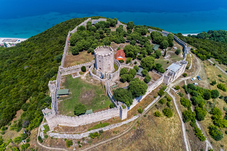 jail: Aerial view of the castle of Platamon, Pieria, Macedonia, Greece