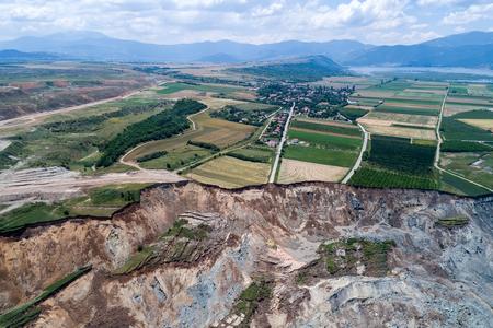 greening: Landslide in lignite mine of Amyntaio, Florina, Greece