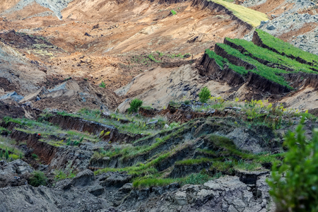 Amyntaio, Florina, 그리스의 갈탄 광산에서 산사태 스톡 콘텐츠