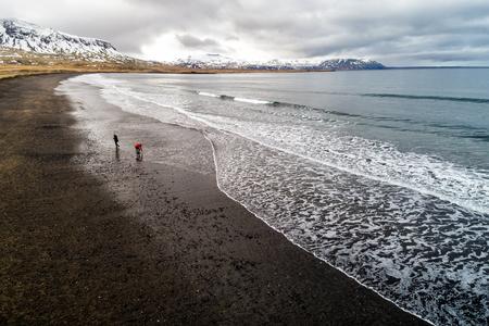 Aerial view of  the black sandy beach of Brimilsvellir of Iceland. Stock Photo