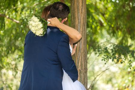 Bride and groom outdoor portrait (wedding)
