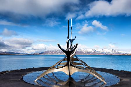 Reykjavik, Iceland - April 1, 2017: The Sun Voyager (Solfar) sculpture by Jon Gunnar Arnason on the water seafront in Reykjavik, Iceland.