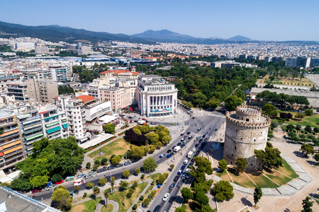 Thessaloniki, Greece - June 29, 2017: Aerial photography of the famous white tower in the city of Thessaloniki in northern Greece. Image taken with action drone camera Editorial