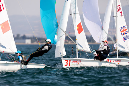 Thessaloniki, Greece - July 12, 2017: Athletes yachts in action during 2017 Women 470 World Championship class sailing