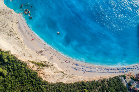 ionio: Aerial view of the famous beach of Porto Katsiki on the island of Lefkada in the Ionian Sea in Greece Stock Photo