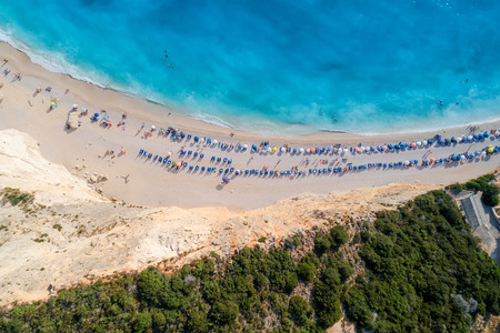 ionian: Aerial view of the famous beach of Porto Katsiki on the island of Lefkada in the Ionian Sea in Greece Stock Photo