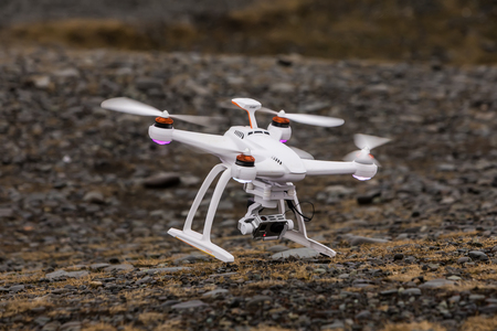 Jokulsarlon, Iceland - Marsh 27, 2017: A drone that crashed during a flight