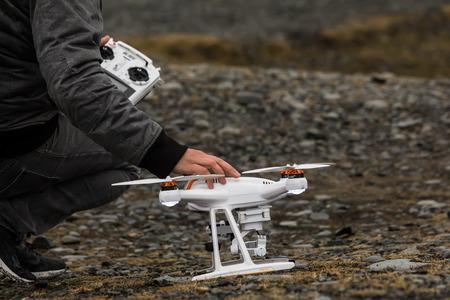 Jokulsarlon, Iceland - Marsh 27, 2017: A drone that crashed during a flight