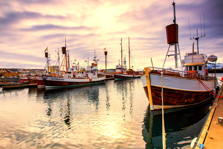 Husavik, Iceland - March 29, 2017: Traditional whale watching boats lying in the harbor of Husavik in golden evening light at sunset , northern coast of Iceland Editoriali