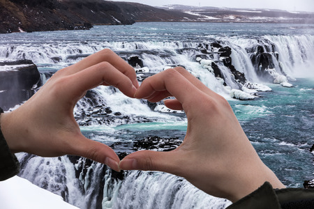 Famous Gullfoss is one of the most beautiful waterfalls on the Iceland. It is located on the South of the iceland. Lizenzfreie Bilder