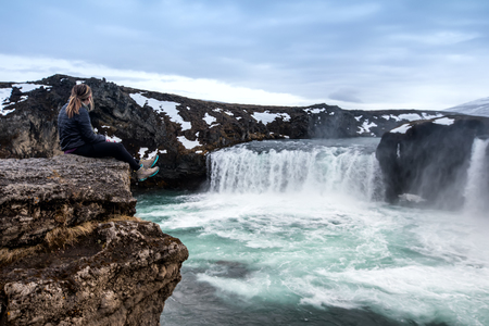 Famous Godafoss is one of the most beautiful waterfalls on the Iceland. It is located on the north of the island. Lizenzfreie Bilder