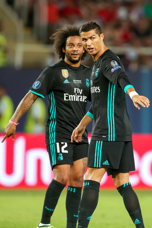Skopje, FYROM - August 8,2017: Real Madrid Cristiano Ronaldo (R) and Marcelo (L) during the UEFA Super Cup Final match between Real Madrid and Manchester United at Philip II Arena in Skopje Editorial