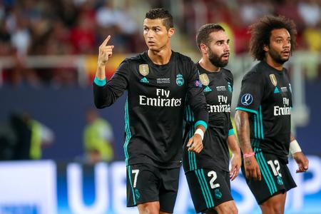 Skopje, FYROM - Août 8,2017: Real Madrid Cristiano Ronaldo lors du match final de la Coupe de l'UEFA entre Real Madrid et Manchester United à Philip II Arena à Skopje Éditoriale