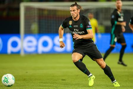 Skopje, FYROM - 8,2017 augustus: Real Madrid Gareth Bale tijdens de UEFA Super Cup Finale wedstrijd tussen Real Madrid en Manchester United bij Philip II Arena in Skopje Redactioneel