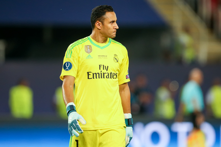 Skopje, FYROM - August 8,2017: Real Madrid Keylor Navas during the UEFA Super Cup Final match between Real Madrid and Manchester United at Philip II Arena in Skopje