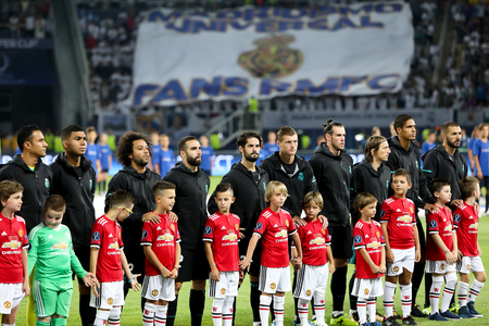 Skopje, FYROM - August 8,2017: Real Madrid team line up during the UEFA Super Cup Final match between Real Madrid and Manchester United at Philip II Arena in Skopje