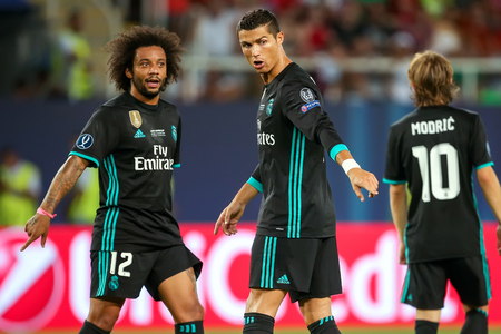 Skopje, FYROM - August 8,2017: Real Madrid Cristiano Ronaldo (R) and Marcelo (L) during the UEFA Super Cup Final match between Real Madrid and Manchester United at Philip II Arena in Skopje