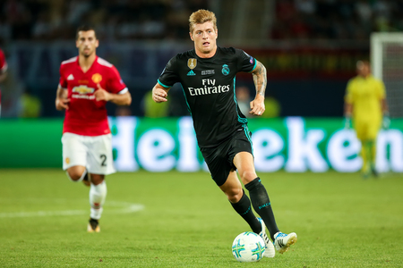 Skopje, FYROM - August 8,2017: Real Madrid Toni Kroos during the UEFA Super Cup Final match between Real Madrid and Manchester United at Philip II Arena in Skopje Editorial