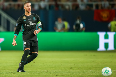 Skopje, FYROM - August 8,2017: Real Madrid Sergio Ramos during the UEFA Super Cup Final match between Real Madrid and Manchester United at Philip II Arena in Skopje
