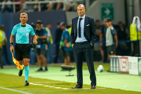 Skopje, FYROM - August 8,2017: Real Madrid coach Zinédine Zidane during the UEFA Super Cup Final match between Real Madrid and Manchester United at Philip II Arena in Skopje
