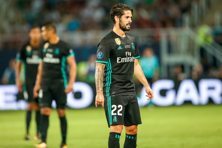 Skopje, FYROM - August 8,2017: Real Madrid Isco during the UEFA Super Cup Final match between Real Madrid and Manchester United at Philip II Arena in Skopje