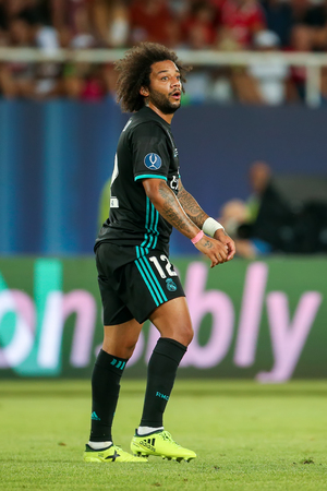 Skopje, FYROM - August 8,2017: Real Madrid Marcelo during the UEFA Super Cup Final match between Real Madrid and Manchester United at Philip II Arena in Skopje