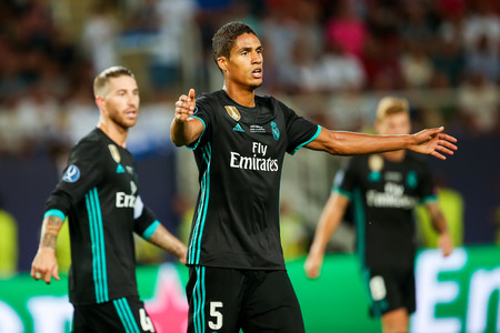 Skopje, FYROM - August 8,2017: Real Madrid Raphael Varane during the UEFA Super Cup Final match between Real Madrid and Manchester United at Philip II Arena in Skopje