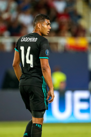 Skopje, FYROM - August 8,2017: Real Madrid Casemiro during the UEFA Super Cup Final match between Real Madrid and Manchester United at Philip II Arena in Skopje