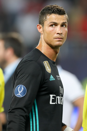 Skopje, FYROM - August 8,2017: Real Madrid Cristiano Ronaldo during the UEFA Super Cup Final match between Real Madrid and Manchester United at Philip II Arena in Skopje
