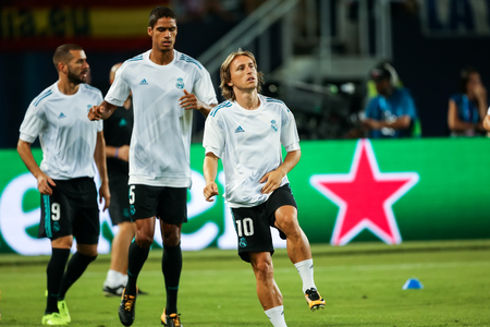 Skopje, FYROM - August 8,2017: Real Madrid Luka Modrić during the UEFA Super Cup Final match between Real Madrid and Manchester United at Philip II Arena in Skopje Editorial