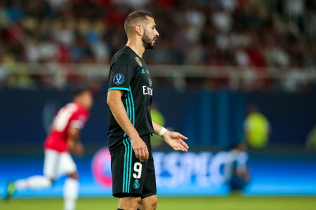 Skopje, FYROM - August 8,2017: Real Madrid Karim Benzema during the UEFA Super Cup Final match between Real Madrid and Manchester United at Philip II Arena in Skopje