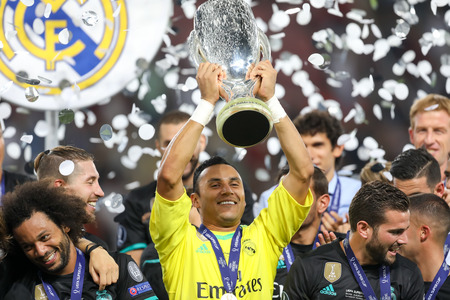 Skopje, FYROM - August 8,2017: Real Madrid Keylor Navas celebrates with team mates after defeating Manchester United 2-1 during the Super Cup final soccer match at Philip II Arena in Skopje Editorial