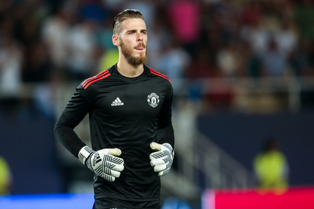Skopje, FYROM - August 8,2017: Manchester United David de Gea during the UEFA Super Cup Final match between Real Madrid and Manchester United at Philip II Arena in Skopje Stok Fotoğraf - 84383345
