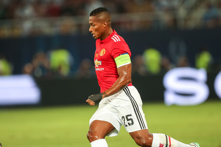Skopje, FYROM - August 8,2017: Manchester United Antonio Valencia during the UEFA Super Cup Final match between Real Madrid and Manchester United at Philip II Arena in Skopje Stok Fotoğraf - 84383352