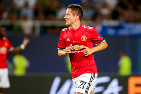 Skopje, FYROM - August 8,2017: Manchester United Ander Herrera during the UEFA Super Cup Final match between Real Madrid and Manchester United at Philip II Arena in Skopje