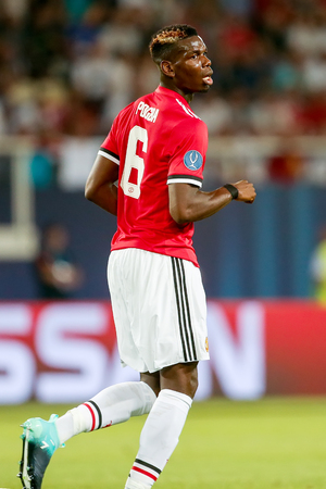 Skopje, FYROM - August 8,2017: Manchester United Paul Pogba during the UEFA Super Cup Final match between Real Madrid and Manchester United at Philip II Arena in Skopje