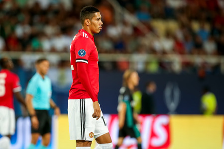 Skopje, FYROM - August 8,2017: Manchester United Chris Smalling during the UEFA Super Cup Final match between Real Madrid and Manchester United at Philip II Arena in Skopje Stok Fotoğraf - 84383377