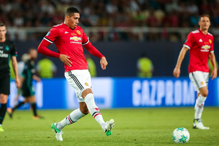 Skopje, FYROM - August 8,2017: Manchester United Chris Smalling during the UEFA Super Cup Final match between Real Madrid and Manchester United at Philip II Arena in Skopje