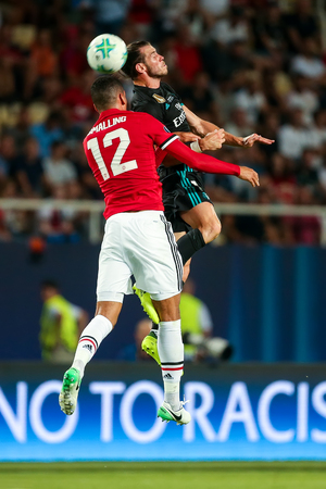 Skopje, FYROM -August 8,2017:Real Madrid G. Bale (R) and Manchester United Ch. Smalling (L) during the UEFA Super Cup Final match between Real Madrid and Manchester United at Philip II Arena in Skopje Editorial