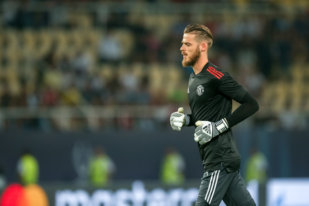 Skopje, FYROM - August 8,2017: Manchester United David de Gea during the UEFA Super Cup Final match between Real Madrid and Manchester United at Philip II Arena in Skopje Stok Fotoğraf - 84383390