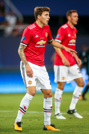 Skopje, FYROM - August 8,2017: Manchester United Victor Lindelof during the UEFA Super Cup Final match between Real Madrid and Manchester United at Philip II Arena in Skopje