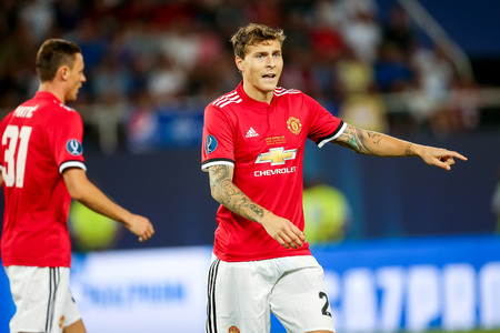 Skopje, FYROM - August 8,2017: Manchester United Victor Lindelof during the UEFA Super Cup Final match between Real Madrid and Manchester United at Philip II Arena in Skopje Stok Fotoğraf - 84383439